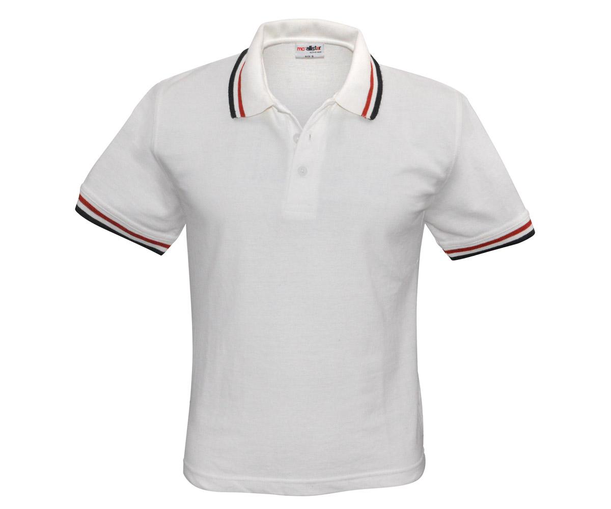 Polo Shirt Active Wear weiß Streifen rot - schwarz