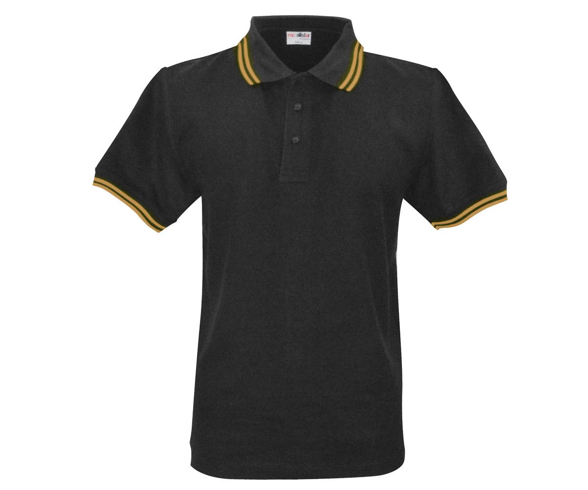 Polo Shirt Active Wear schwarz Streifen gelb
