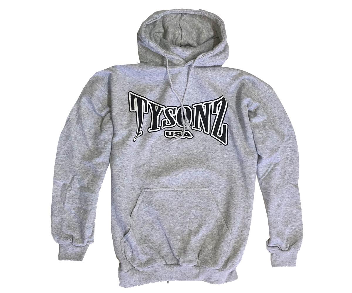 Tysonz Logo Kapuzenpullover grau meliert