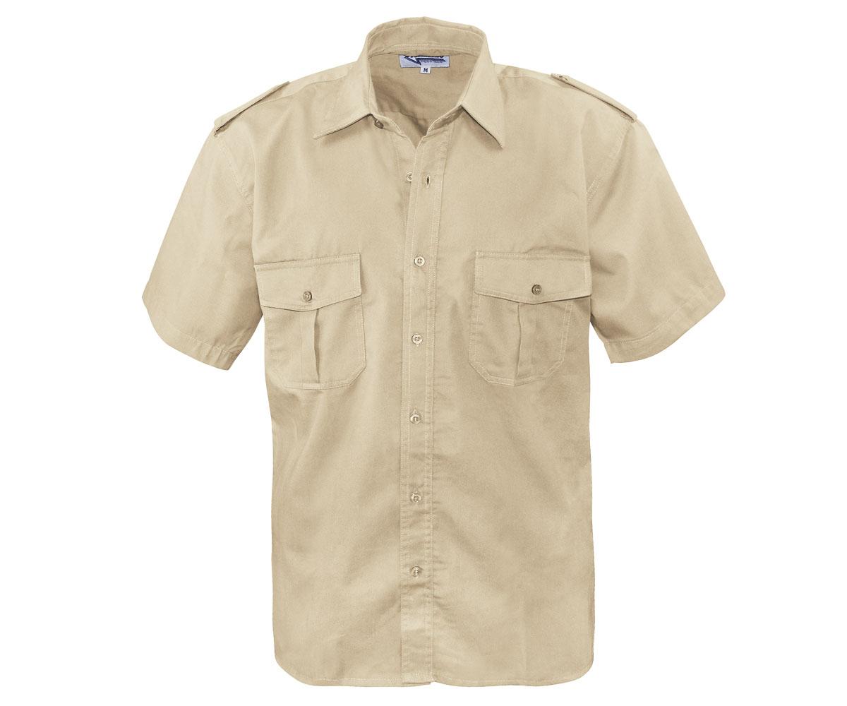 Piloten Hemd kurzarm beige