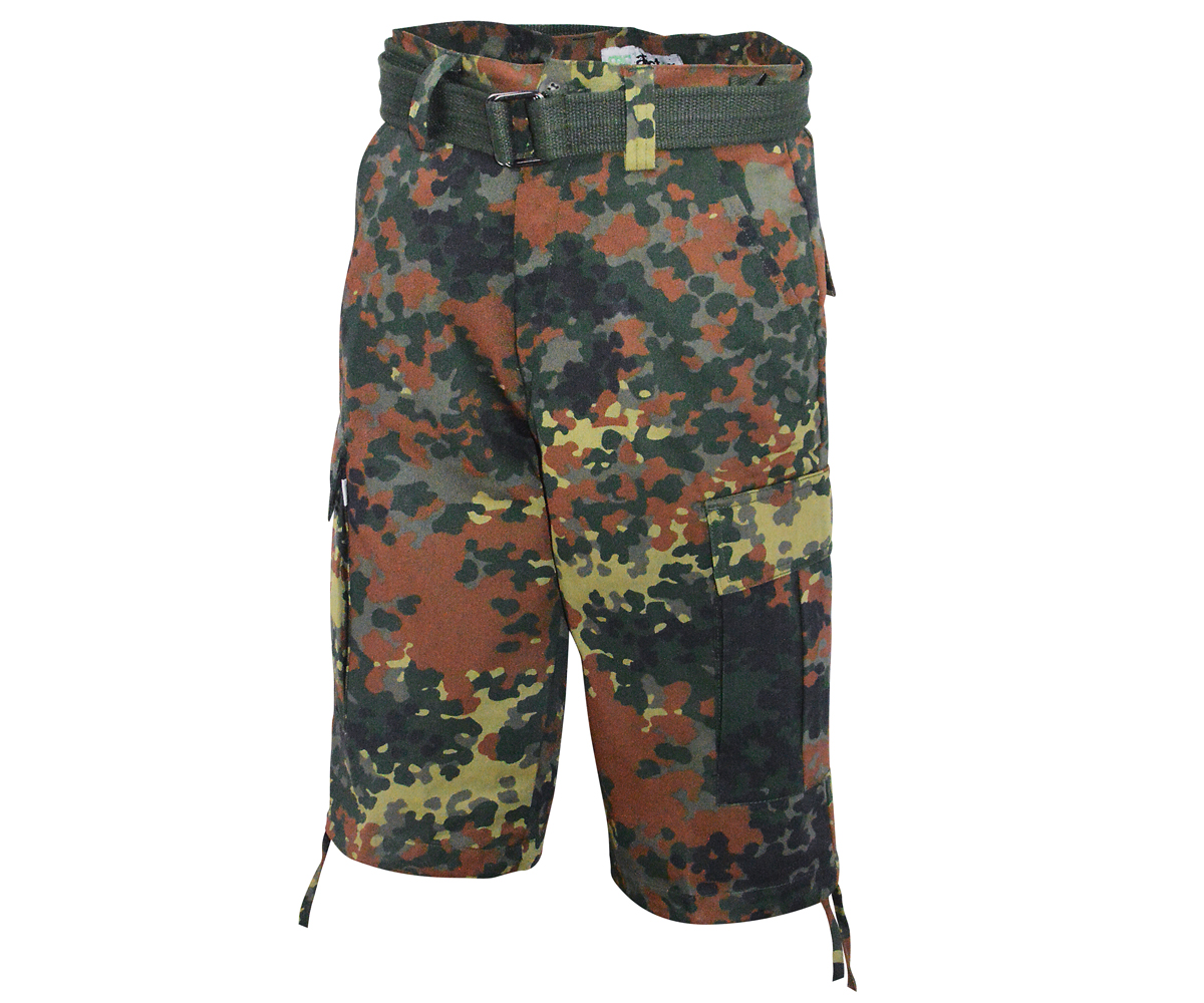 Army Cargo Short mit Gürtel Flecktarn